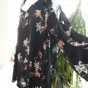Long Sleeve Cold Shoulder Floral Blouse